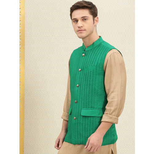 House of Pataudi Men Green Solid Pleated Nehru Jacket