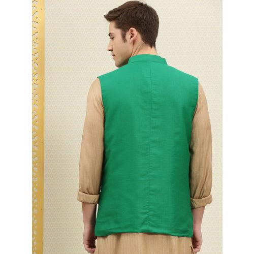 House of Pataudi Men Green Solid Pleated Nehru Jacket