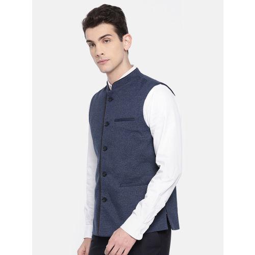 Arrow Navy Blue Self-Design Nehru Jacket