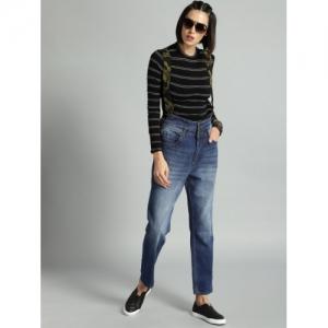 Roadster Women Blue Suspender Crop Boyfriend Fit Mid-Rise Clean Look Jeans