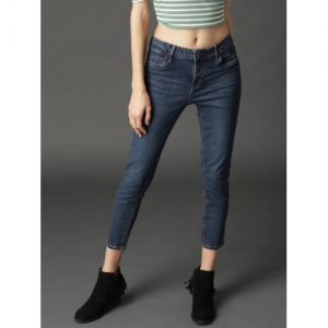 Roadster Women Navy Blue Skinny Fit Mid-Rise Clean Look Stretchable Cropped Jeans