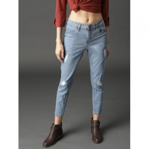 Roadster Blue Skinny Fit Mid-Rise Mildly Distressed Cropped Jeans