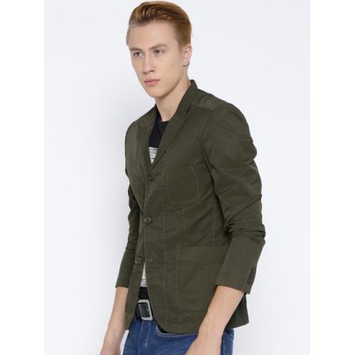 Fort Collins Men Olive Green Solid Tailored Jacket