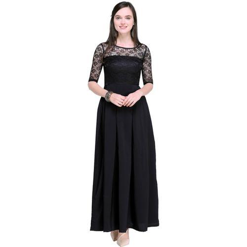 Fringe Flower Women Maxi Black Dress
