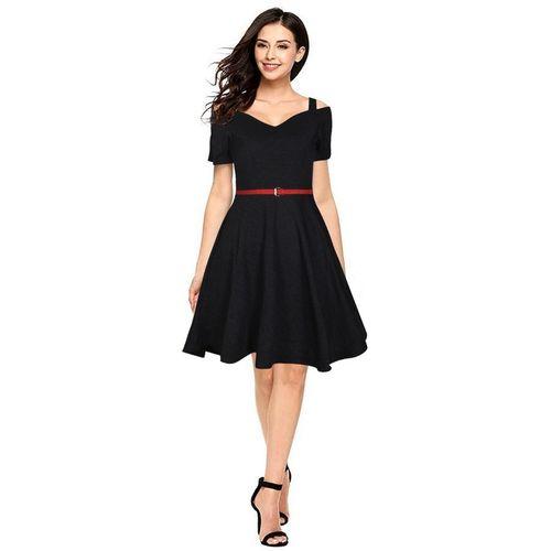 V M B CLOTHING Women Skater Black Dress