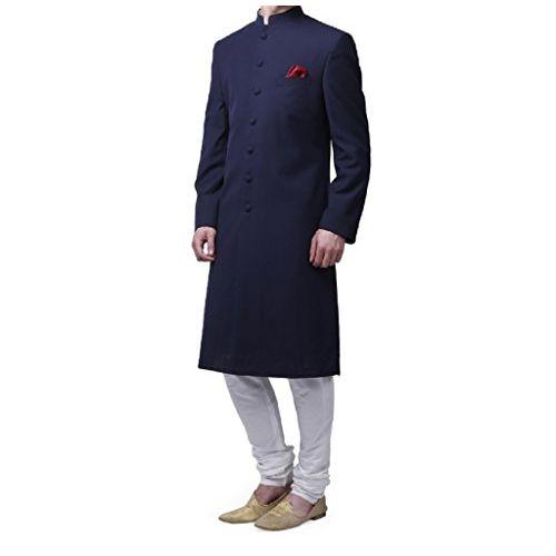Royal Kurta Men's Viscose Blend Solid Nehru Sherwani