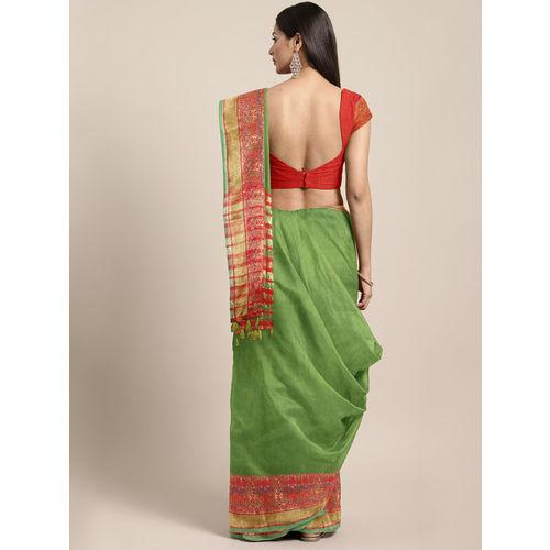Pisara Olive Green Silk Cotton Woven Design Kanjeevaram Saree