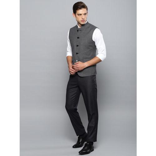 Louis Philippe Men Black Slim Fit Self-Design Nehru Jacket