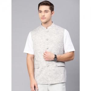 Van Heusen Men Grey Melange Slim Fit Self Design Nehru Jacket