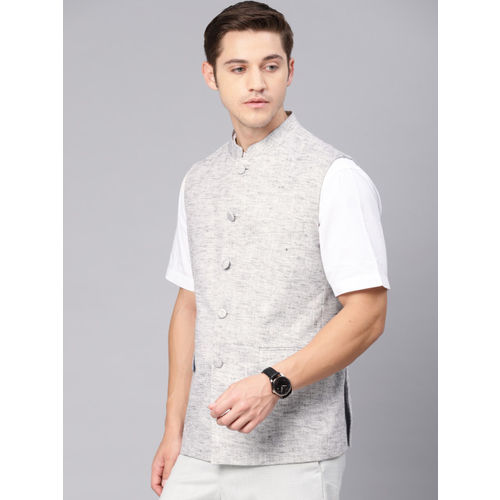 Van Heusen Men Grey Melange Slim Fit Self Design Nehru Jacket