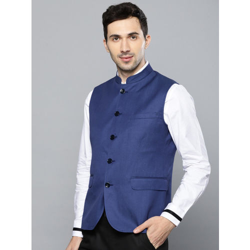 Louis Philippe Men Blue Solid Slim Fit Nehru Jacket