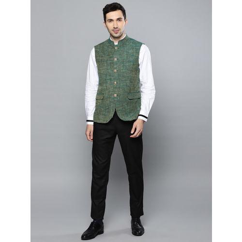 Louis Philippe Men Green Woven Design Slim Fit Nehru Jacket