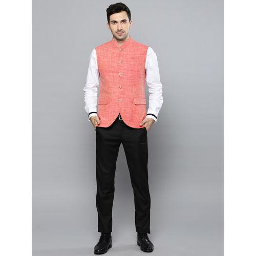 Louis Philippe Men Peach Woven Design Slim Fit Nehru Jacket