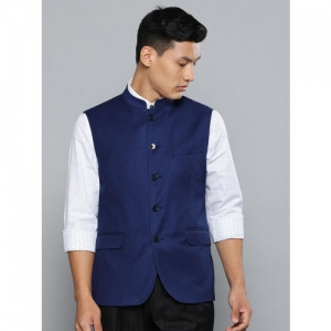 Louis Philippe Men Blue Woven Design Slim Fit Nehru Jacket