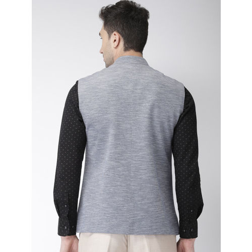 Park Avenue Men Grey & Blue Slim Fit Textured Single-Breasted Nehru Jacket