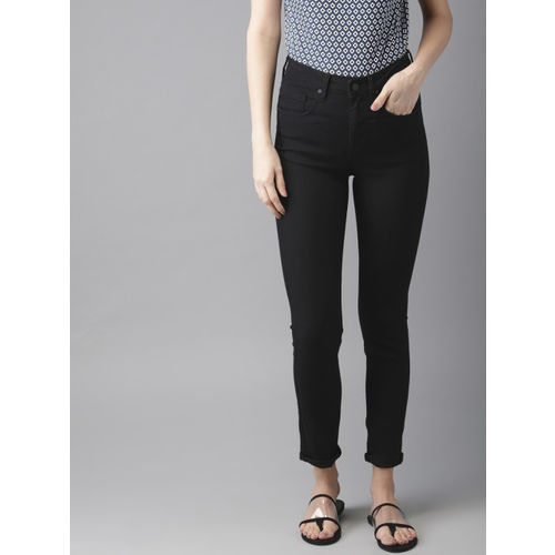 HERE&NOW Women Black Skinny Fit High-Rise Clean Look Stretchable Jeans