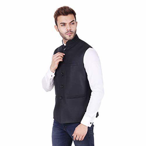 badoliyasons Badoliya sons Nehru Jacket for Men's Formal Wear (Black)