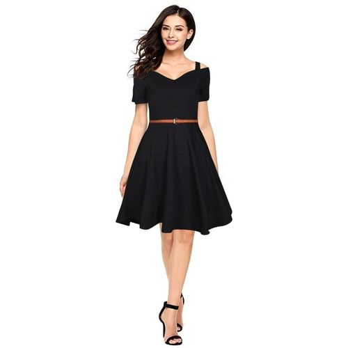 MINIFLY Women Fit and Flare Black Dress