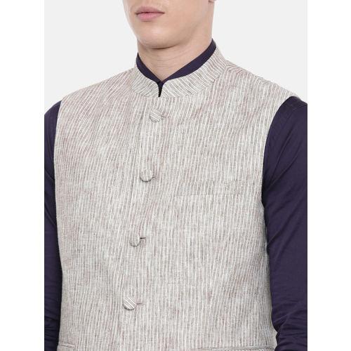 Van Heusen Men Off-White & Brown Slim Fit Striped Nehru Jacket