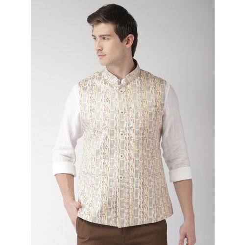 Ethnix by Raymond Men Off White Striped Nehru Jacket