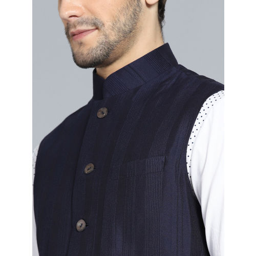 Rohit Bal Limited Men Navy Blue Self Striped Nehru Jacket