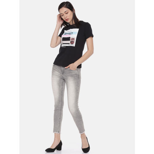 Lee Cooper Women Grey Alexi Skinny Fit Low-Rise Clean Look Stretchable Cropped Jeans
