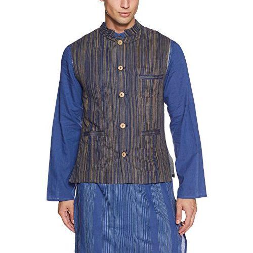 Sobre Estilo Men's Banded Collar Linen Jacket