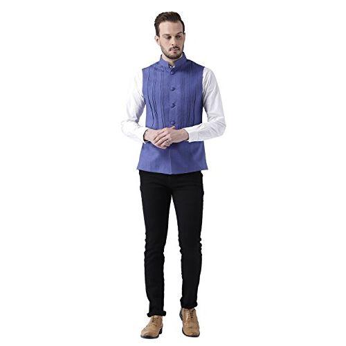 Kisah Men's Bhagalpur Silk Blue Pin tucks Waistcoat