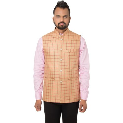 Singhal Fashions Sleeveless Checkered Men Jacket