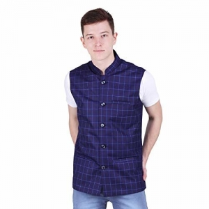 BIS Creations Men's Tweed Cotton Nehru Jacket - Waistcoat