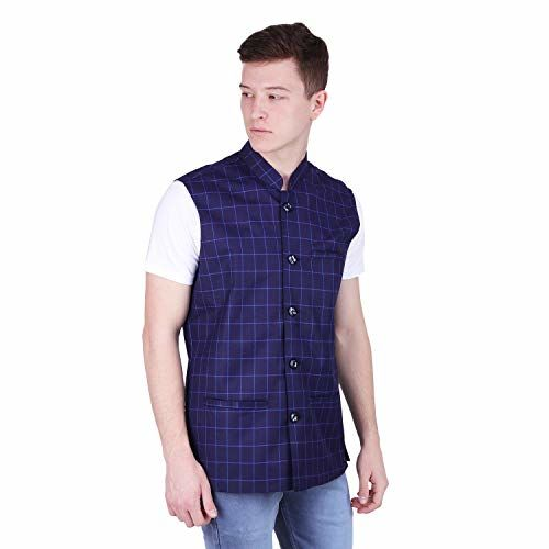 BIS Creations Men's Tweed Cotton Nehru Jacket - Waistcoat