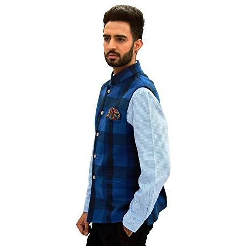 men in class Check Cotton Slevesless Party Wear Men's Waistcoat Nehru Jacket Style 2 Colours for Party Weeding Or Formal Wear