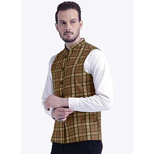 Vastraa Fusion Men's Chequered Festive Nehru Jacket/Waistcoat