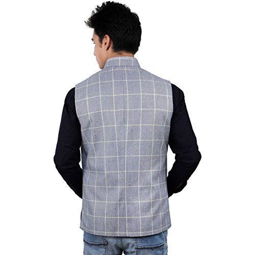 La Rainbow Men's Check Linen Nehru Jacket Waistcoat For Partywear (Blue)