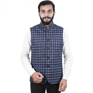 La Rainbow Men's Check twieded Nehru Jacket Waistcoat For Partywear (Blue)