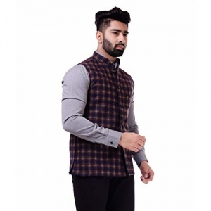Charkhawallah Sleeveless Checkered Men Jacket