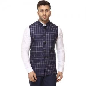 JIHUZUR Sleeveless Checkered Men Jacket
