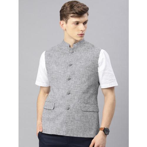 Van Heusen Men Black & White Checked Nehru Jacket