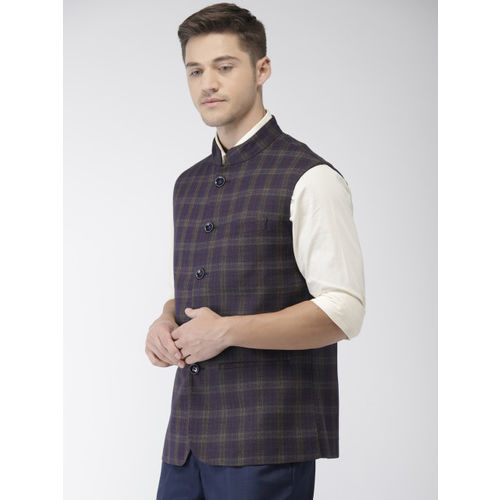 Park Avenue Men Navy & Khaki Brown Slim Fit Checked Single-Breasted Nehru Jacket