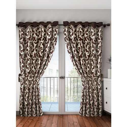 Home Sizzler Brown & Cream-Coloured Set of 2 Door Curtains