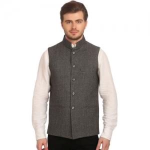 Wintage Black & Off-White Nehru Jacket
