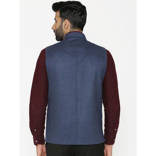 Wintage Men Blue Solid Nehru Jacket