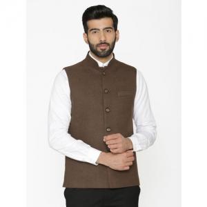 Wintage Men Brown Solid Nehru Jacket