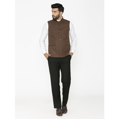 Wintage Men Brown Solid Nehru Jacket
