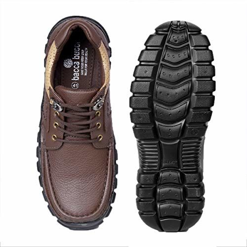 Bacca Bucci Lifestyle Genuine Leather Casual Work Shoes for Men Low top Round Neck Non-Slip Water Resistant Boots