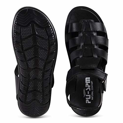 PU-SPM Men's Casual Daily Sandals and Floaters (Black,P-5051)