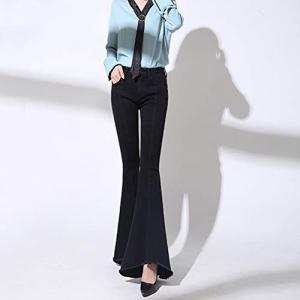 XiuG Casual High Waist Skinny Flare Denim Jeans Pants Bell Bottom Slim Fit