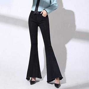 XiuG Casual High Waist Denim Jeans Pants Bell Bottom Slim Fit