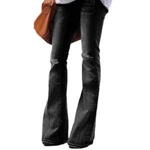Suncolor8 High Waisted Stretch Ripped Destroyed Bell Bottom Denim Jeans Pants