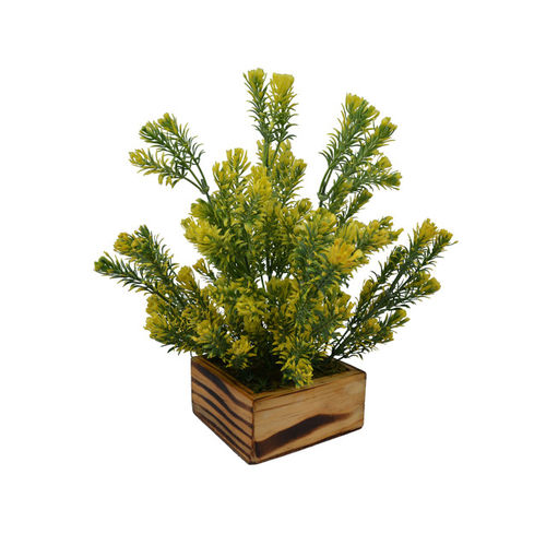 fancy mart Yellow & Green Artificial Flowers and Plants In Wood Square Pot